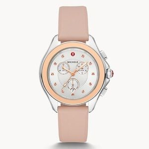 MICHELE-Rare Cape Stainless Misty Rose Topaz Watch